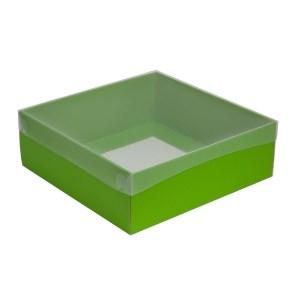 Dárková krabice s průhledným víkem 300x300x100/35 mm, zelená