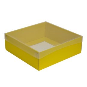 Dárková krabice s průhledným víkem 300x300x100/35 mm, žlutá