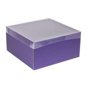 Dárková krabice s průhledným víkem 300x300x150/40 mm, fialová