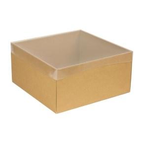 Dárková krabice s průhledným víkem 300x300x150/40 mm, hnědá - kraftová