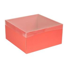 Dárková krabice s průhledným víkem 300x300x150/40 mm, korálová