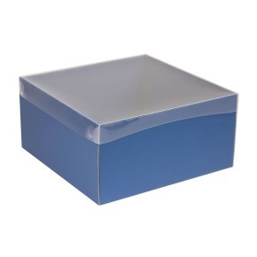 Dárková krabice s průhledným víkem 300x300x150/40 mm, modrá