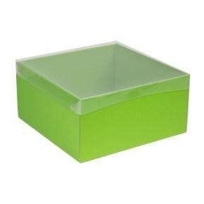 Dárková krabice s průhledným víkem 300x300x150/40 mm, zelená