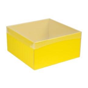 Dárková krabice s průhledným víkem 300x300x150/40 mm, žlutá