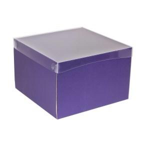 Dárková krabice s průhledným víkem 300x300x200/40 mm, fialová