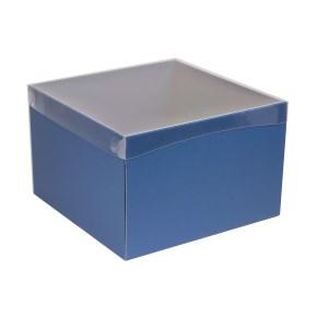 Dárková krabice s průhledným víkem 300x300x200/40 mm, modrá