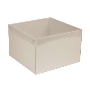 Dárková krabice s průhledným víkem 300x300x200/40 mm, šedá