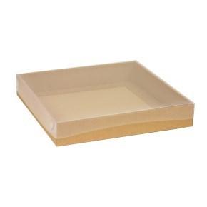 Dárková krabice s průhledným víkem 300x300x50/40 mm, hnědá - kraftová