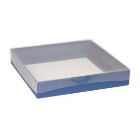 Dárková krabice s průhledným víkem 300x300x50/40 mm, modrá