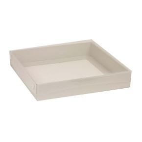 Dárková krabice s průhledným víkem 300x300x50/40 mm, šedá