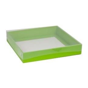 Dárková krabice s průhledným víkem 300x300x50/40 mm, zelená