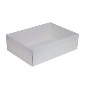 Dárková krabice s průhledným víkem 350x250x100/35 mm, bílá