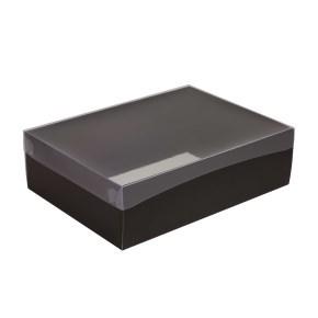 Dárková krabice s průhledným víkem 350x250x100/35 mm, černá