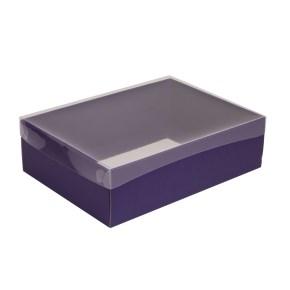 Dárková krabice s průhledným víkem 350x250x100/35 mm, fialová