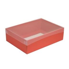 Dárková krabice s průhledným víkem 350x250x100/35 mm, korálová