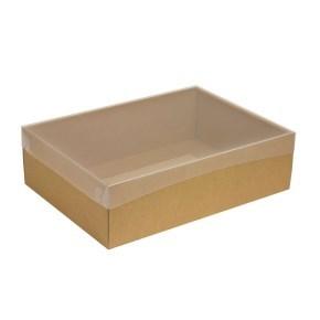 Dárková krabice s průhledným víkem 350x250x100/35 mm, kraftová - hnědá