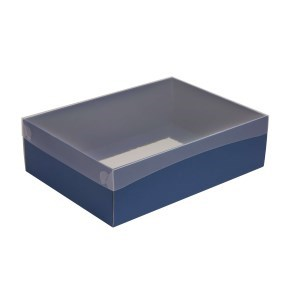 Dárková krabice s průhledným víkem 350x250x100/35 mm, modrá