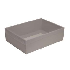 Dárková krabice s průhledným víkem 350x250x100/35 mm, šedá