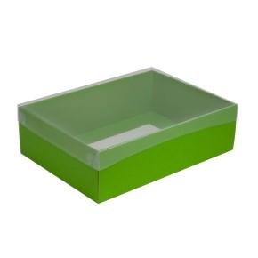 Dárková krabice s průhledným víkem 350x250x100/35 mm, zelená
