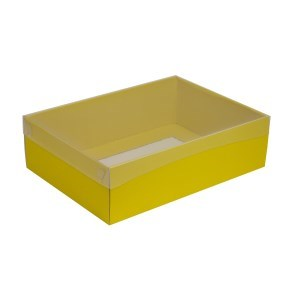 Dárková krabice s průhledným víkem 350x250x100/35 mm, žlutá