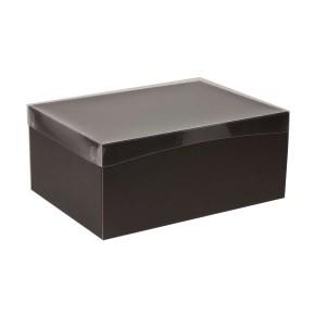 Dárková krabice s průhledným víkem 350x250x150/40 mm, černá