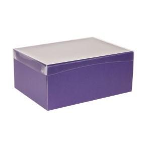 Dárková krabice s průhledným víkem 350x250x150/40 mm, fialová