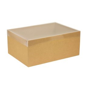 Dárková krabice s průhledným víkem 350x250x150/40 mm, hnědá - kraftová