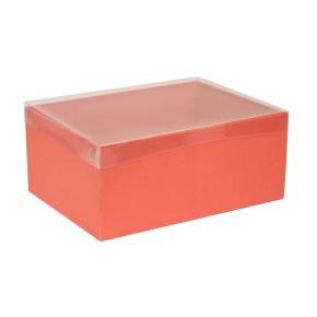 Dárková krabice s průhledným víkem 350x250x150/40 mm, korálová