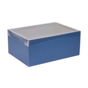 Dárková krabice s průhledným víkem 350x250x150/40 mm, modrá