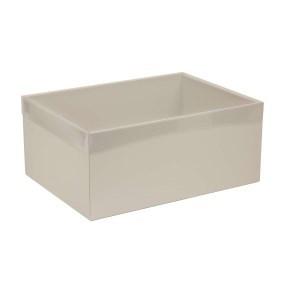 Dárková krabice s průhledným víkem 350x250x150/40 mm, šedá