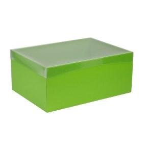 Dárková krabice s průhledným víkem 350x250x150/40 mm, zelená
