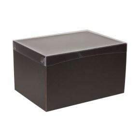 Dárková krabice s průhledným víkem 350x250x200/40 mm, černá