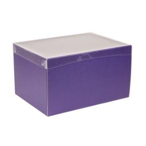 Dárková krabice s průhledným víkem 350x250x200/40 mm, fialová