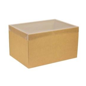Dárková krabice s průhledným víkem 350x250x200/40 mm, hnědá - kraftová