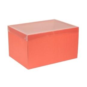 Dárková krabice s průhledným víkem 350x250x200/40 mm, korálová