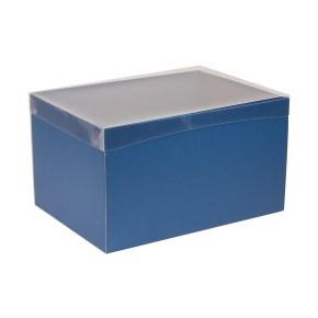Dárková krabice s průhledným víkem 350x250x200/40 mm, modrá