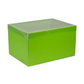Dárková krabice s průhledným víkem 350x250x200/40 mm, zelená