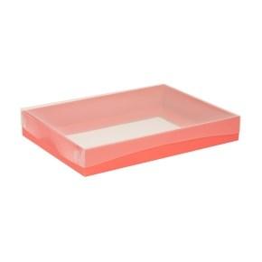 Dárková krabice s průhledným víkem 350x250x50/40 mm, korálová