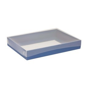 Dárková krabice s průhledným víkem 350x250x50/40 mm, modrá