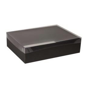 Dárková krabice s průhledným víkem 400x300x100/40 mm, černá