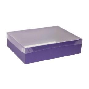 Dárková krabice s průhledným víkem 400x300x100/40 mm, fialová