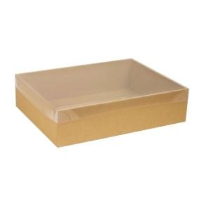Dárková krabice s průhledným víkem 400x300x100/40 mm, hnědá - kraftová