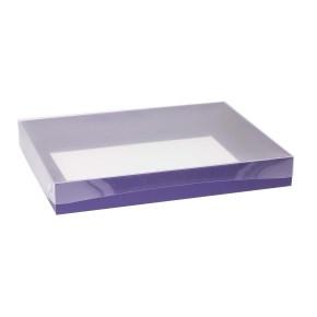 Dárková krabice s průhledným víkem 400x300x50/40 mm, fialová