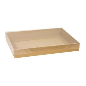 Dárková krabice s průhledným víkem 400x300x50/40 mm, hnědá - kraftová
