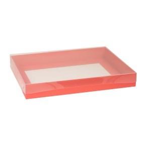 Dárková krabice s průhledným víkem 400x300x50/40 mm, korálová