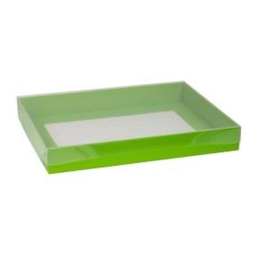 Dárková krabice s průhledným víkem 400x300x50/40 mm, zelená