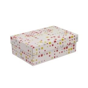 Dárková krabice s víkem 300x200x100/40 mm, VZOR - KOSTKY korálová/žlutá
