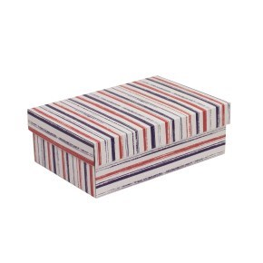 Dárková krabice s víkem 300x200x100/40 mm, VZOR - PRUHY fialová/korálová