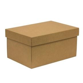 Dárková krabice s víkem 300x200x150/40 mm, hnědá - kraftová