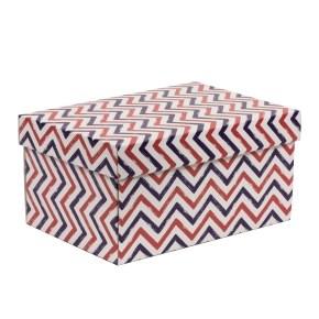 Dárková krabice s víkem 300x200x150/40 mm, VZOR - CIK CAK fialová/korálová